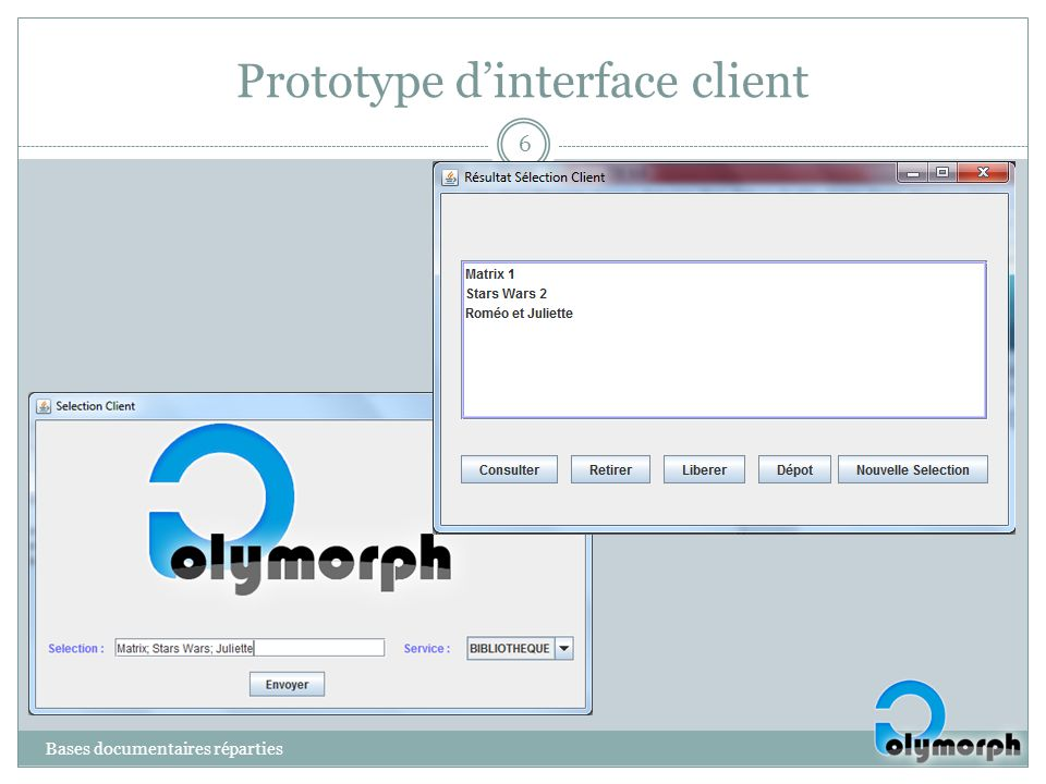 Prototype d'interface client