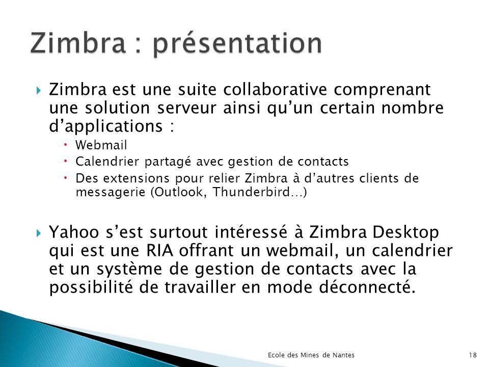 Zimbra : présentation Zimbra est une suite collaborative comprenant une solution serveur ainsi qu'un certain nombre d'applications :