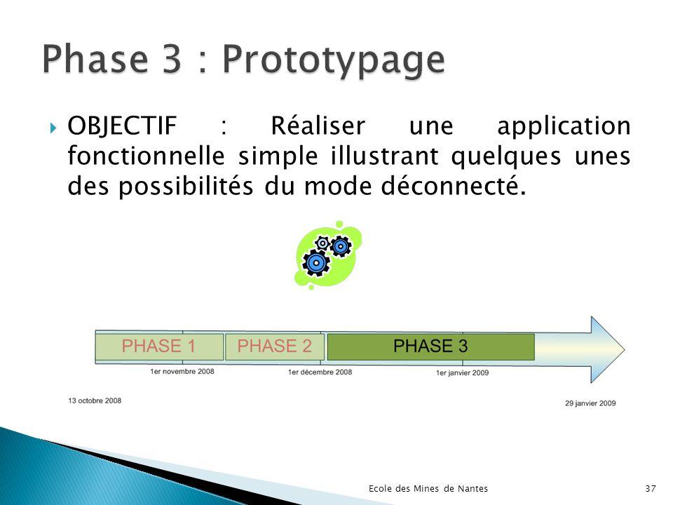 Phase 3 : Prototypage OBJECTIF : Réaliser une application fonctionnelle simple illustrant quelques unes des possibilités du mode déconnecté.