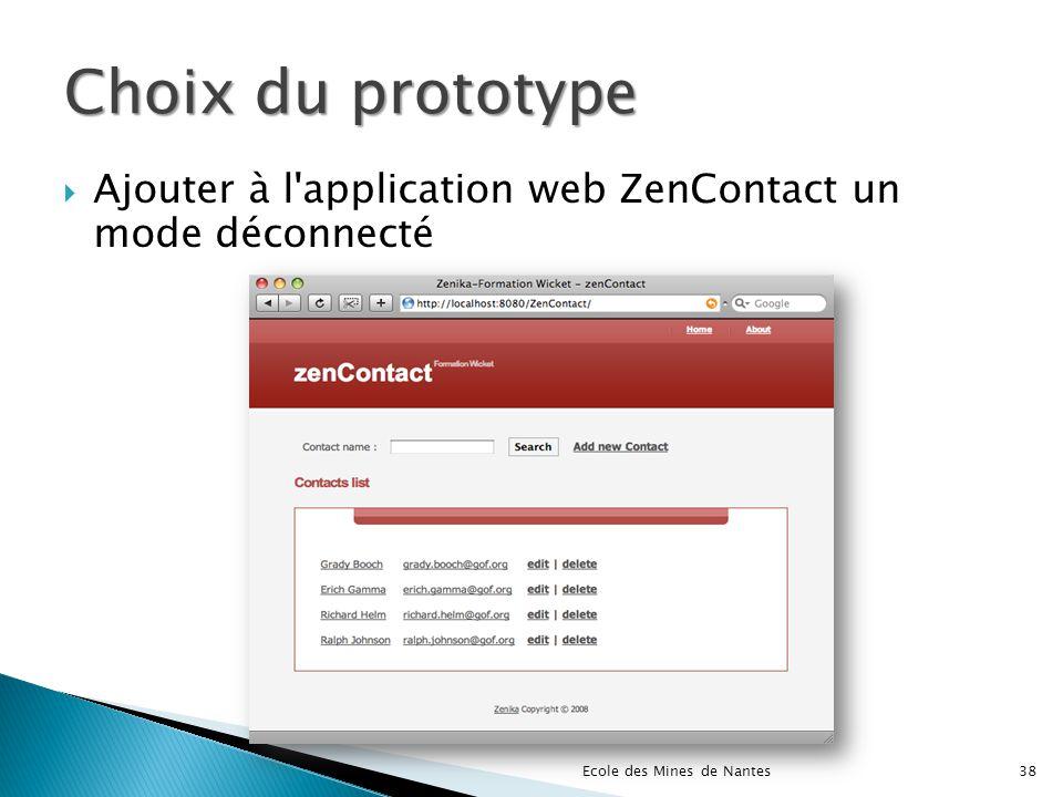 Choix du prototype Ajouter à l application web ZenContact un mode déconnecté.