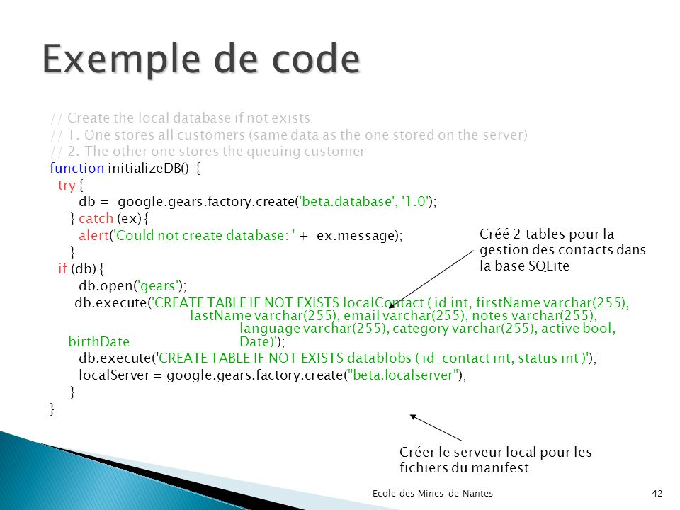 Exemple de code // Create the local database if not exists