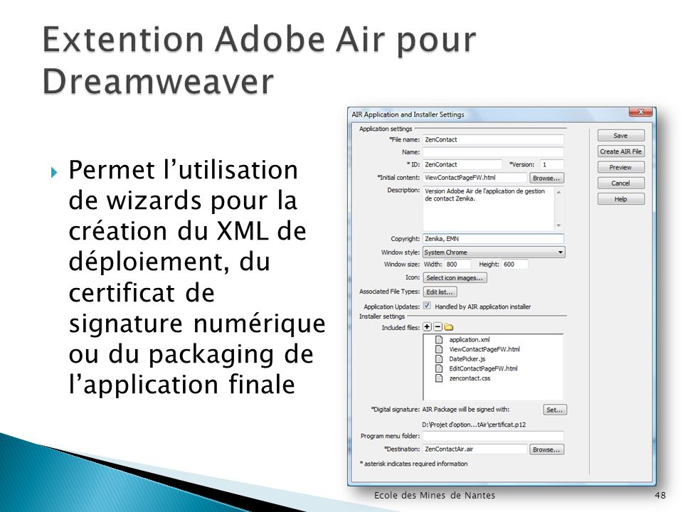 Extention Adobe Air pour Dreamweaver