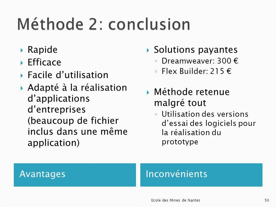 Méthode 2: conclusion Rapide Efficace Facile d'utilisation