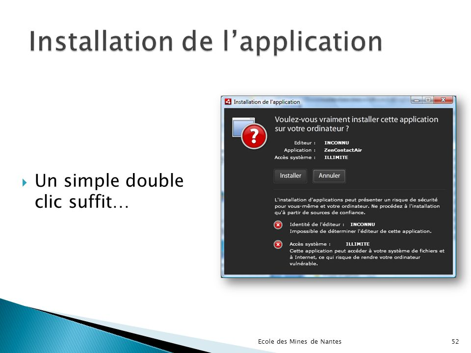 Installation de l'application