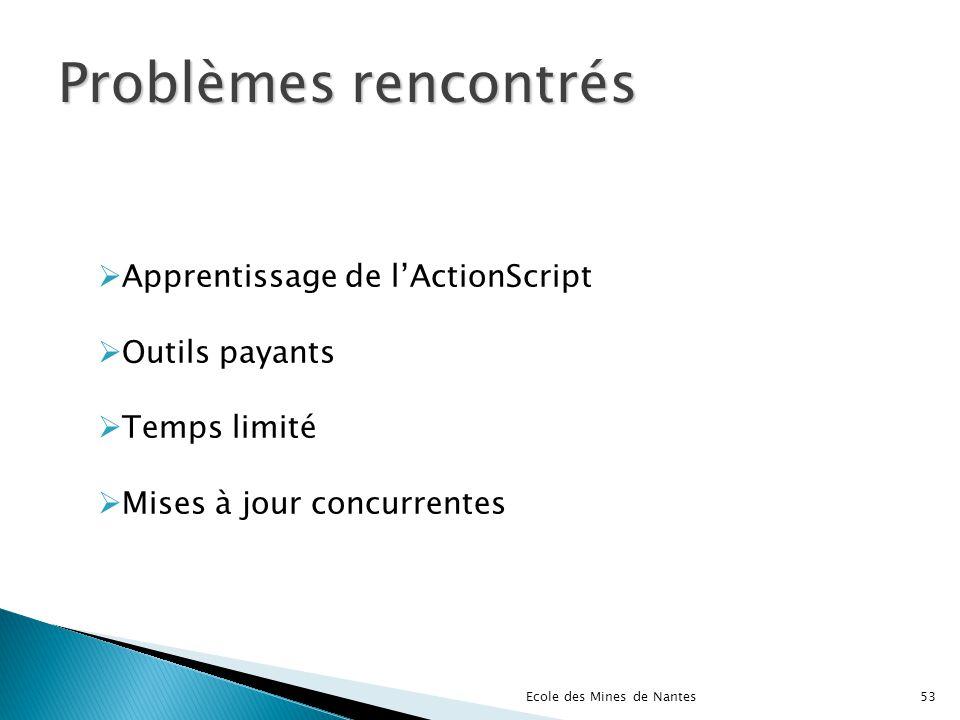 Problèmes rencontrés Apprentissage de l'ActionScript Outils payants