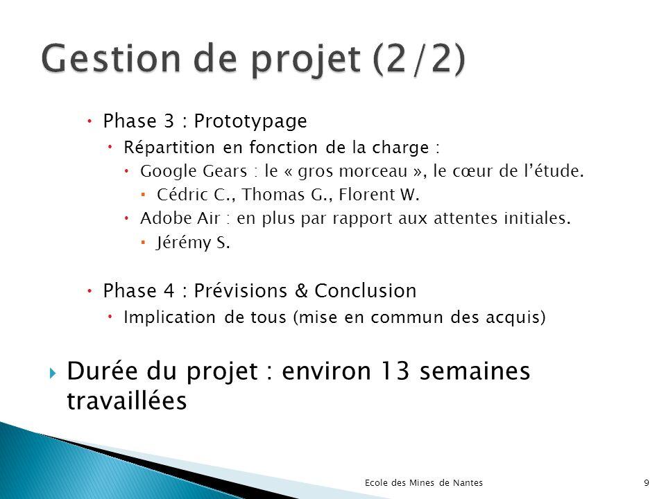 Gestion de projet (2/2) Phase 3 : Prototypage. Répartition en fonction de la charge : Google Gears : le « gros morceau », le cœur de l'étude.