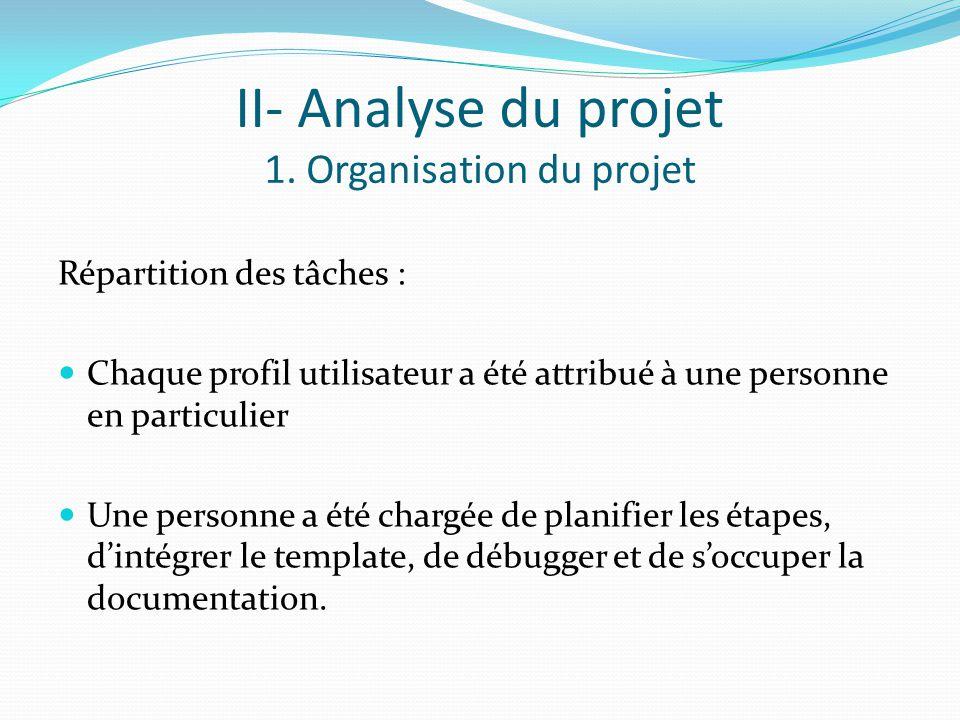 II- Analyse du projet 1. Organisation du projet