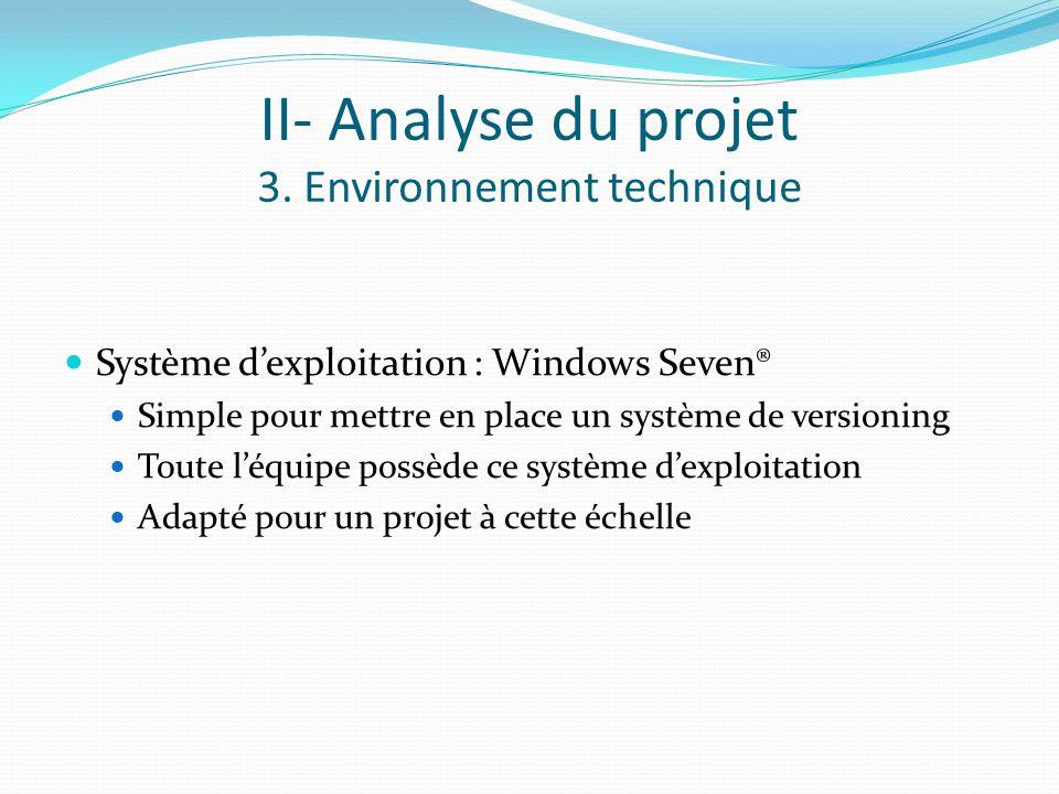 II- Analyse du projet 3. Environnement technique