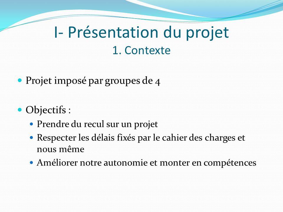 I- Présentation du projet 1. Contexte