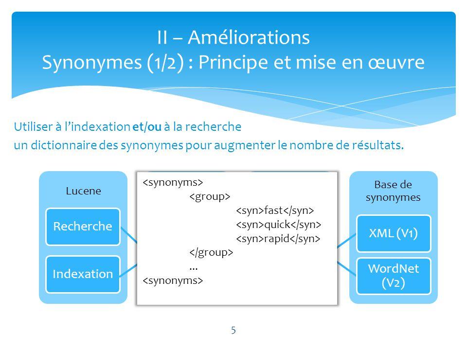 II – Améliorations Synonymes (1/2) : Principe et mise en œuvre