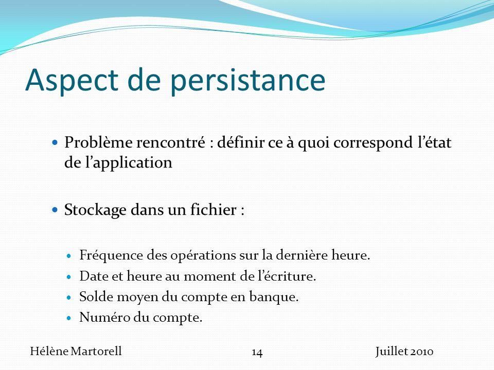 Aspect de persistance Problème rencontré : définir ce à quoi correspond l'état de l'application. Stockage dans un fichier :