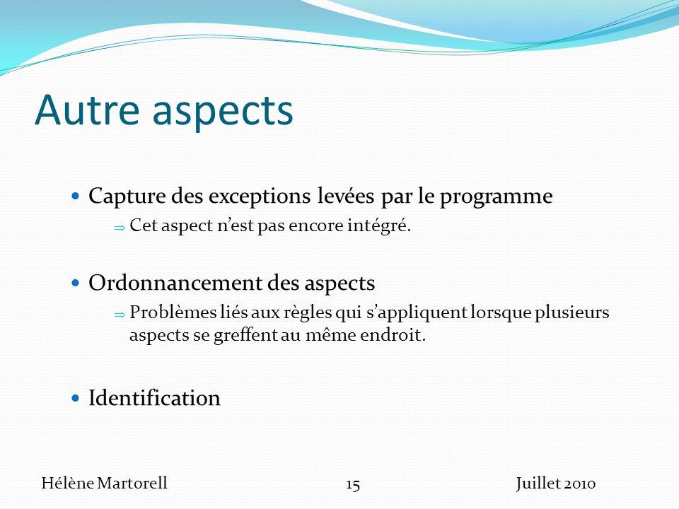 Autre aspects Capture des exceptions levées par le programme