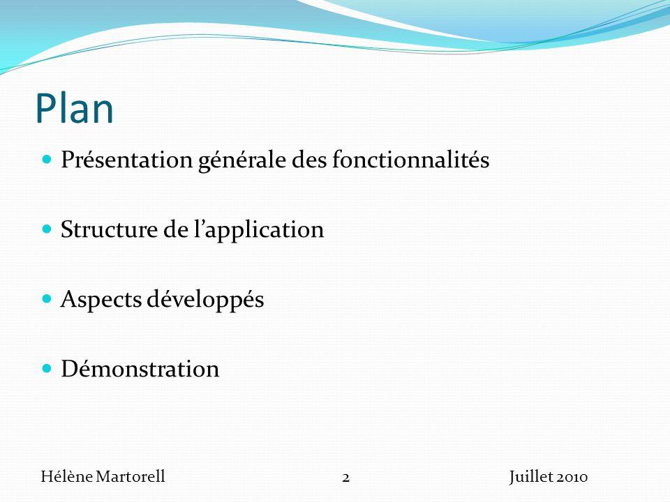 Plan Présentation générale des fonctionnalités