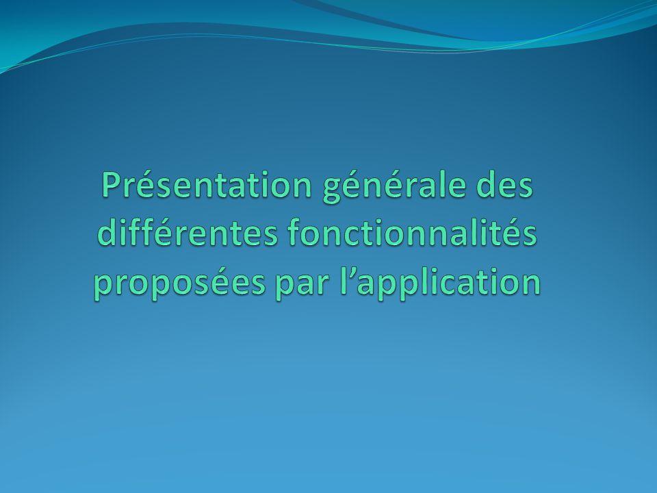 Présentation générale des différentes fonctionnalités proposées par l'application