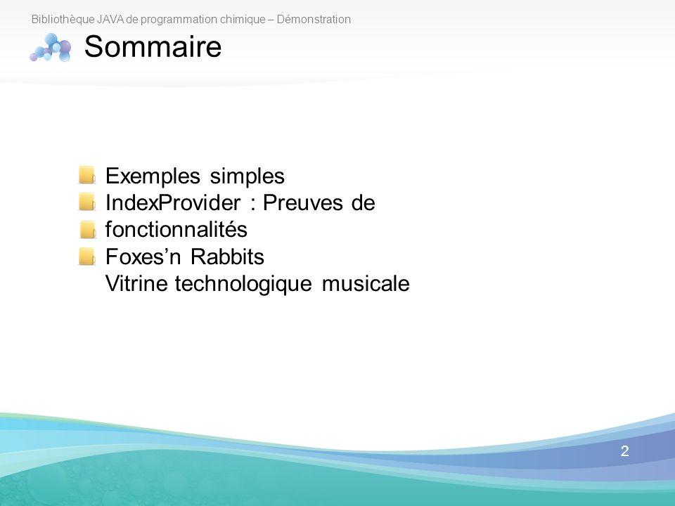 Sommaire Exemples simples IndexProvider : Preuves de fonctionnalités