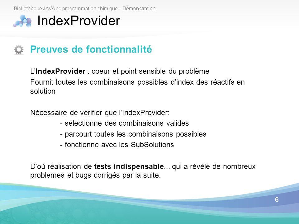 IndexProvider Preuves de fonctionnalité