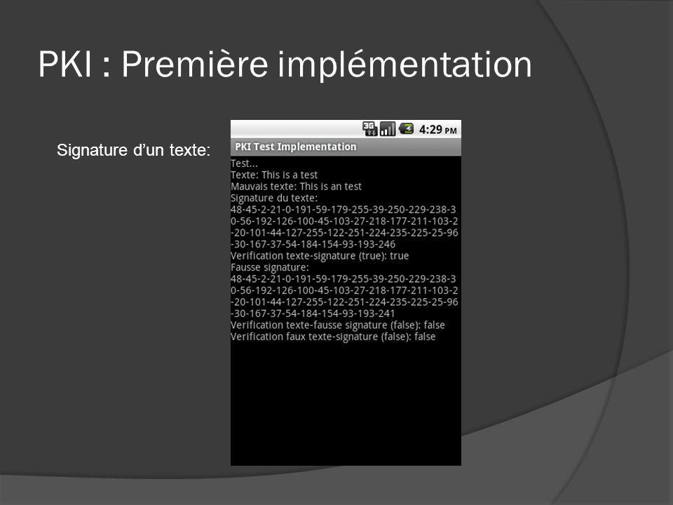 PKI : Première implémentation