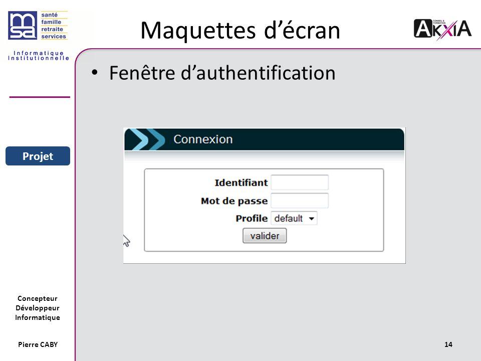 Maquettes d'écran Fenêtre d'authentification Sommaire Entreprise