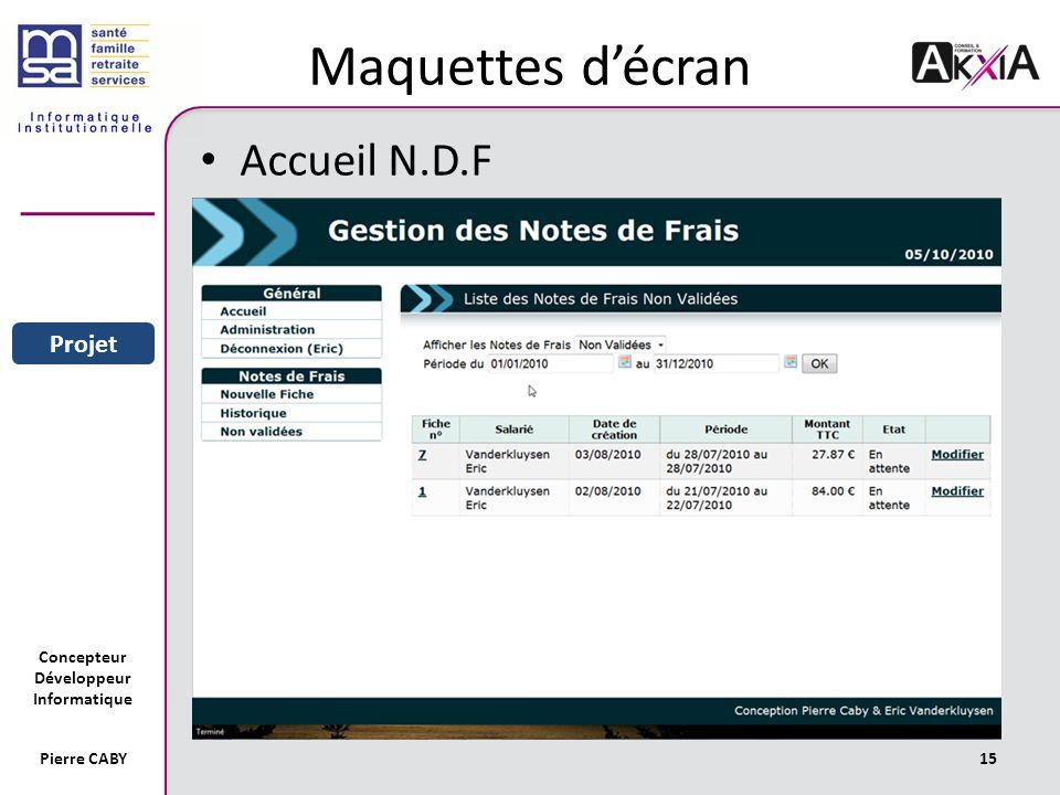 Maquettes d'écran Accueil N.D.F Sommaire Entreprise Projet Pierre CABY