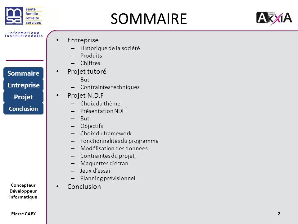 SOMMAIRE Entreprise Projet tutoré Projet N.D.F Sommaire Entreprise