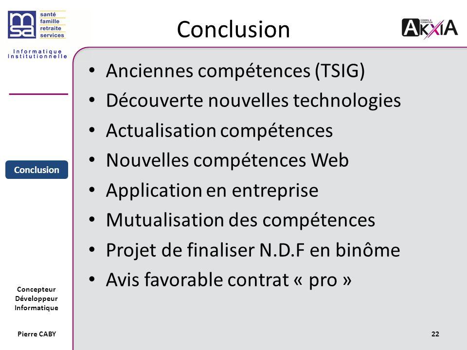 Conclusion Anciennes compétences (TSIG)