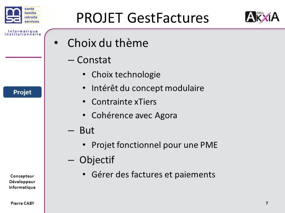 PROJET GestFactures Choix du thème Constat But Objectif
