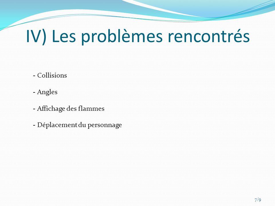 IV) Les problèmes rencontrés