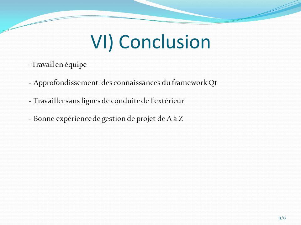 VI) Conclusion Travail en équipe