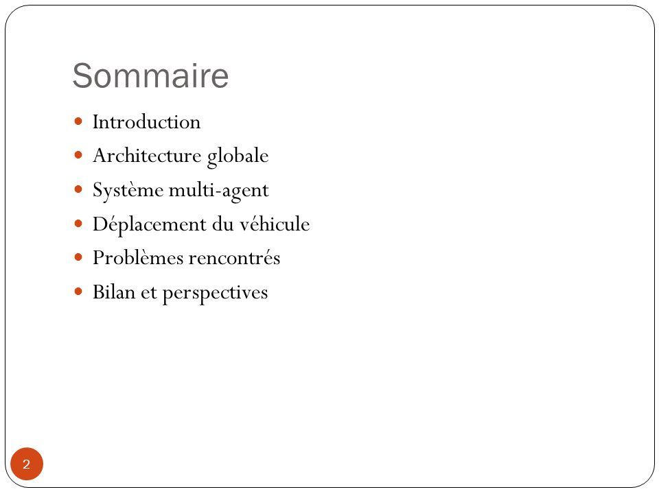 Sommaire Introduction Architecture globale Système multi-agent
