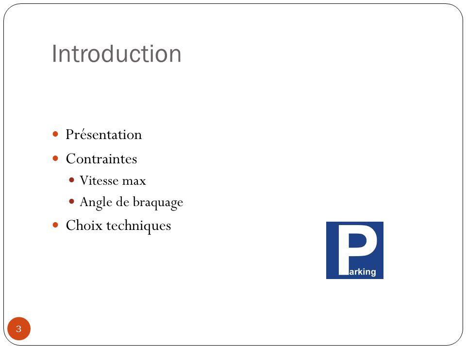 Introduction Présentation Contraintes Choix techniques Vitesse max