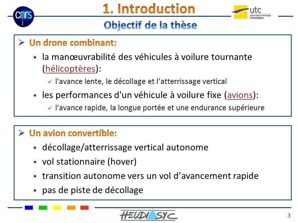1. Introduction Objectif de la thèse Un drone combinant: