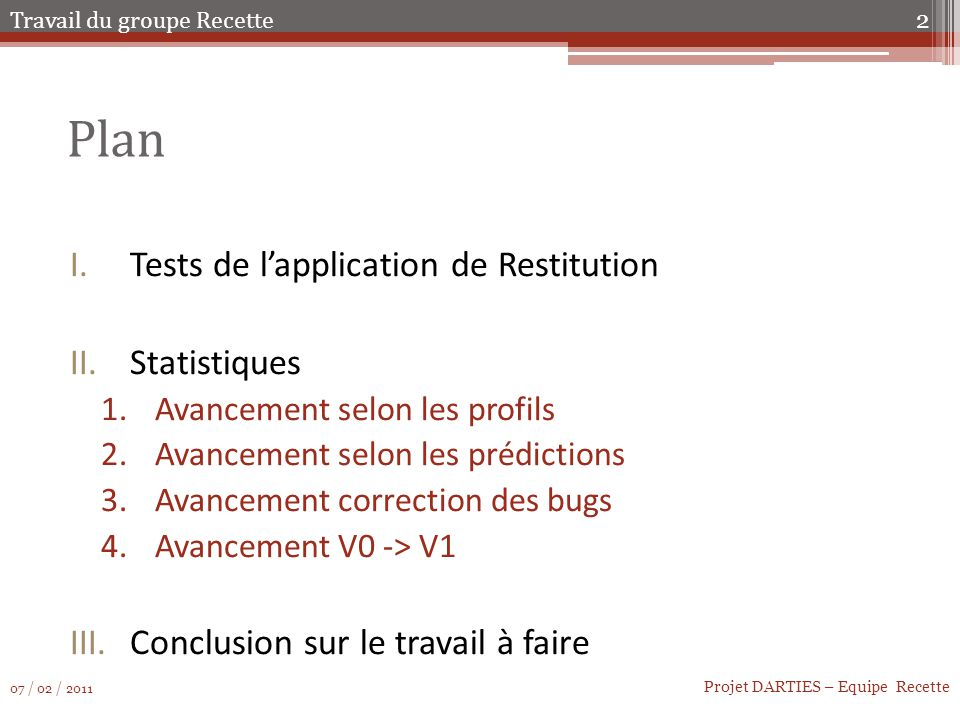 Plan Tests de l'application de Restitution Statistiques
