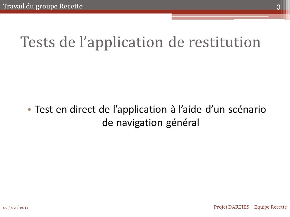 Tests de l'application de restitution