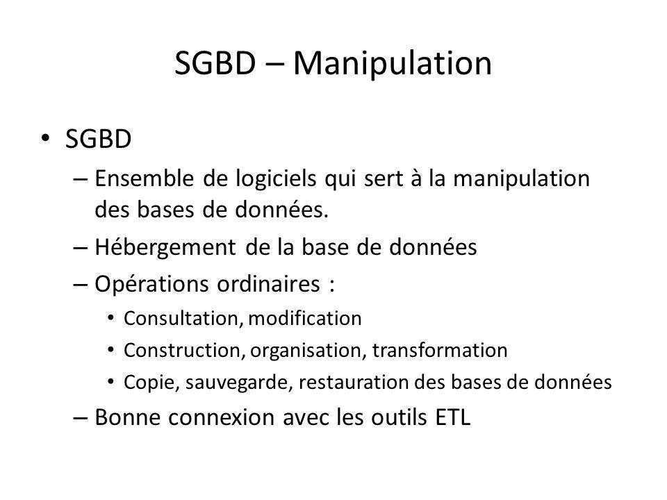 SGBD – Manipulation SGBD