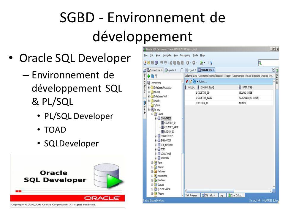 SGBD - Environnement de développement