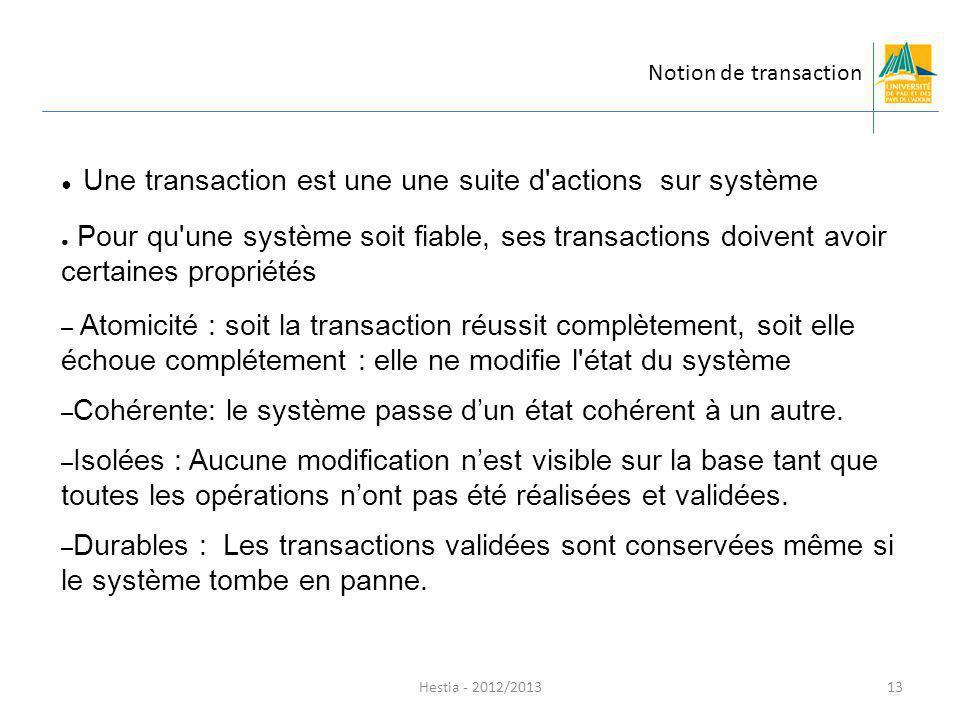 Une transaction est une une suite d actions sur système