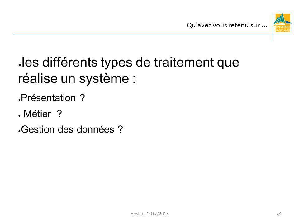 les différents types de traitement que réalise un système :