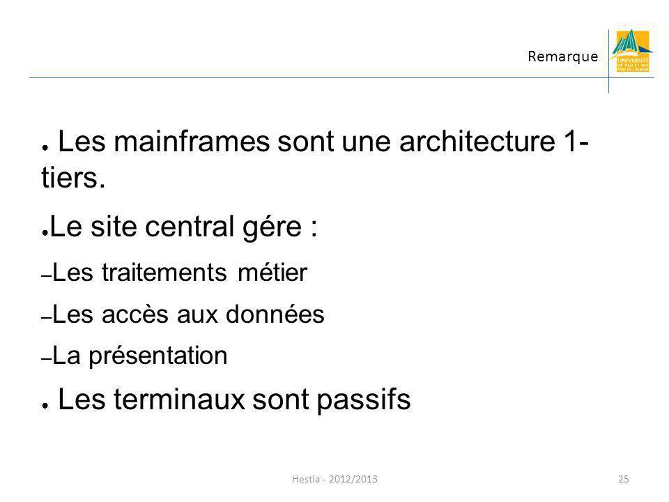 Les mainframes sont une architecture 1- tiers. Le site central gére :
