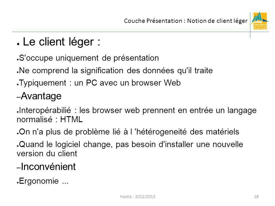 Couche Présentation : Notion de client léger