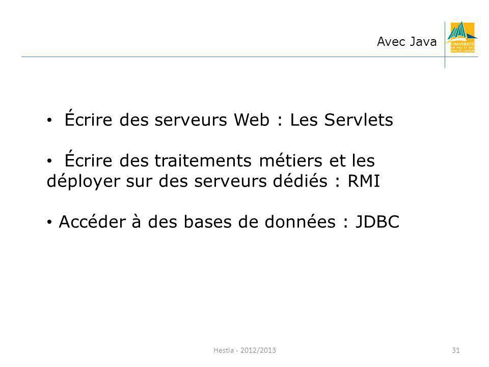Écrire des serveurs Web : Les Servlets