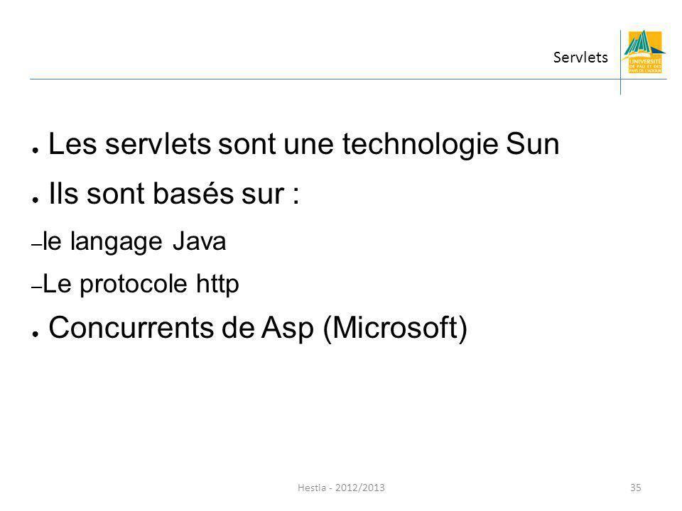 Les servlets sont une technologie Sun Ils sont basés sur :