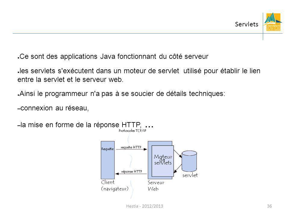 Ce sont des applications Java fonctionnant du côté serveur