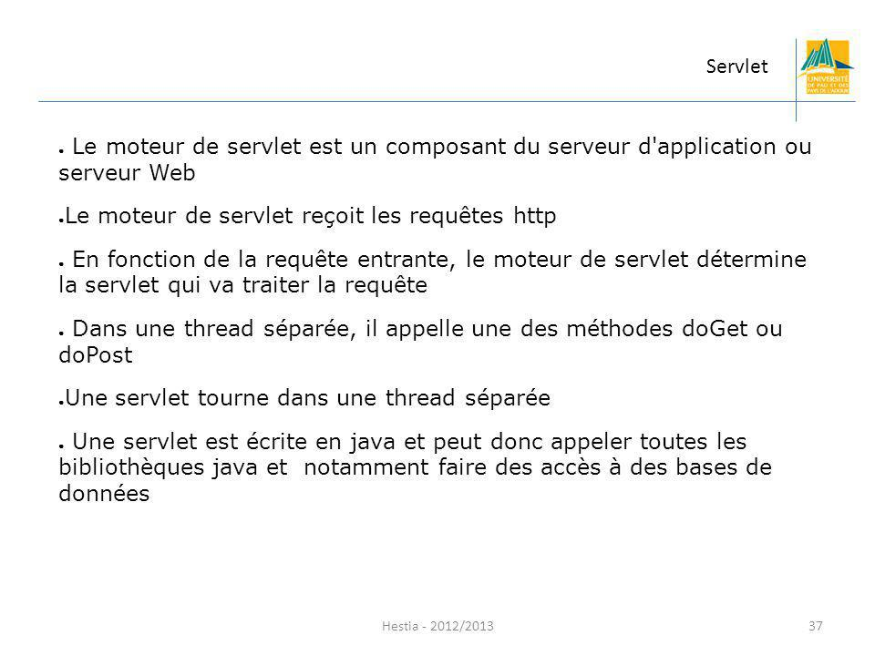 Le moteur de servlet reçoit les requêtes http
