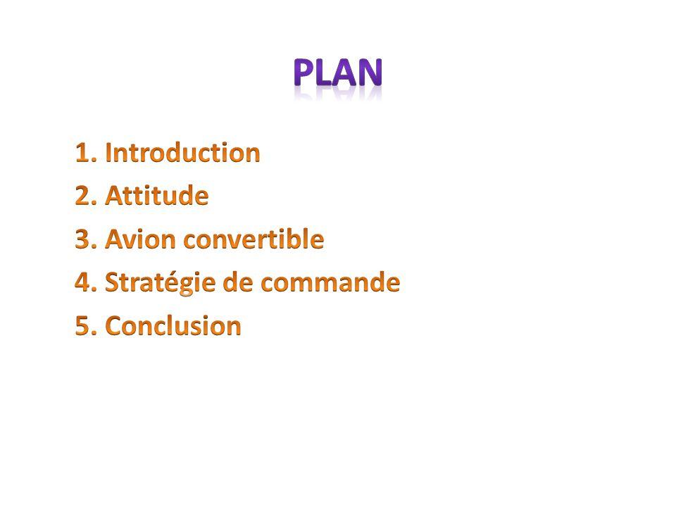 Plan 1. Introduction 2. Attitude 3. Avion convertible 4. Stratégie de commande 5. Conclusion
