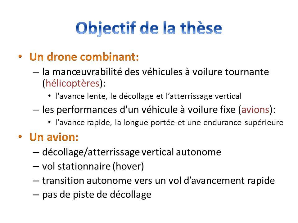 Objectif de la thèse Un drone combinant: Un avion:
