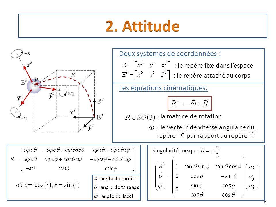 2. Attitude Deux systèmes de coordonnées : Les équations cinématiques:
