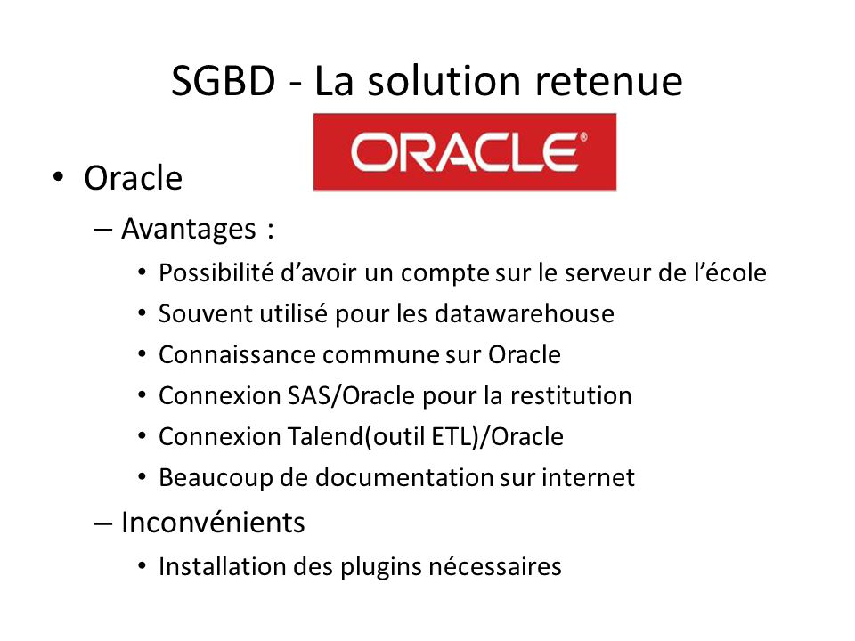 SGBD - La solution retenue