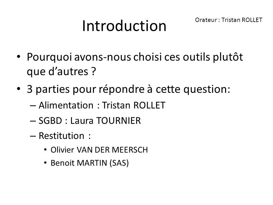 Introduction Orateur : Tristan ROLLET. Pourquoi avons-nous choisi ces outils plutôt que d'autres