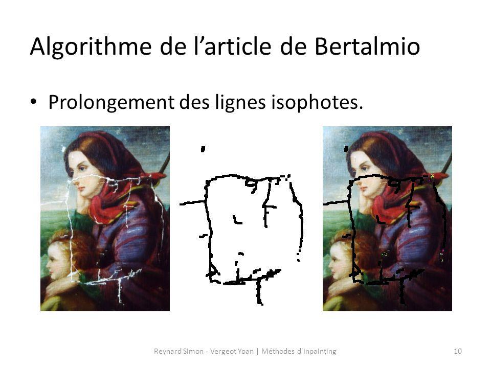 Algorithme de l'article de Bertalmio