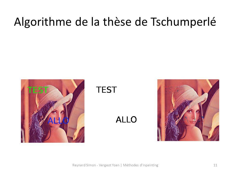 Algorithme de la thèse de Tschumperlé